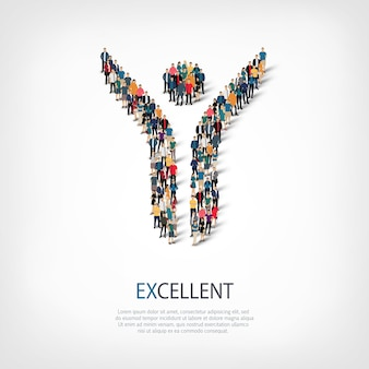 Isometrische reeks stijlen abstract, uitstekend, symbool web infographics concept illustratie van een druk plein. menigtepuntengroep die een vooraf bepaalde vorm vormt.