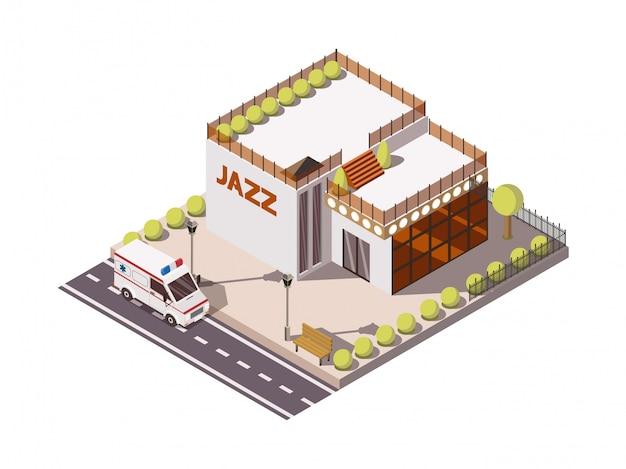 Isometrische reeks van de ziekenwagenauto die van de de hulpdienst dichtbij de bouw met 3d vectorillustratie van het jazzteken bouwen