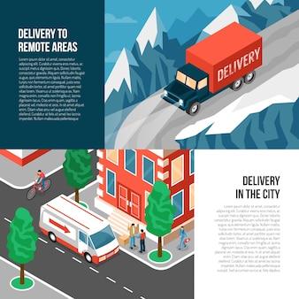 Isometrische reeks van twee horizontale banners met vrachtwagens die goederen leveren aan afgelegen gebieden en in 3d stad
