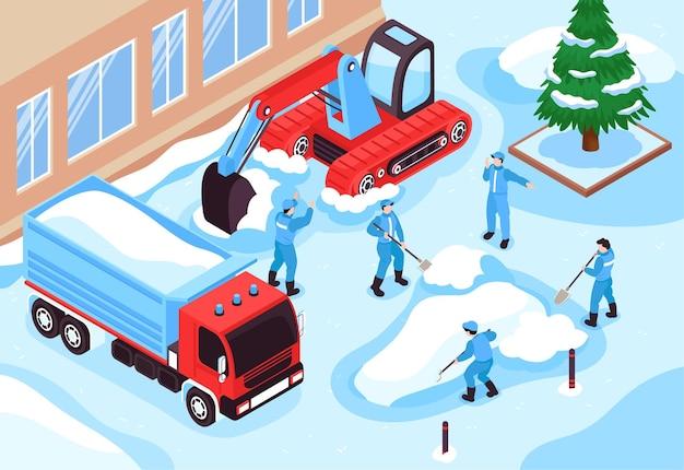 Isometrische reinigingswegillustratie met voertuigen en arbeiders van het sneeuwruimingsmateriaal