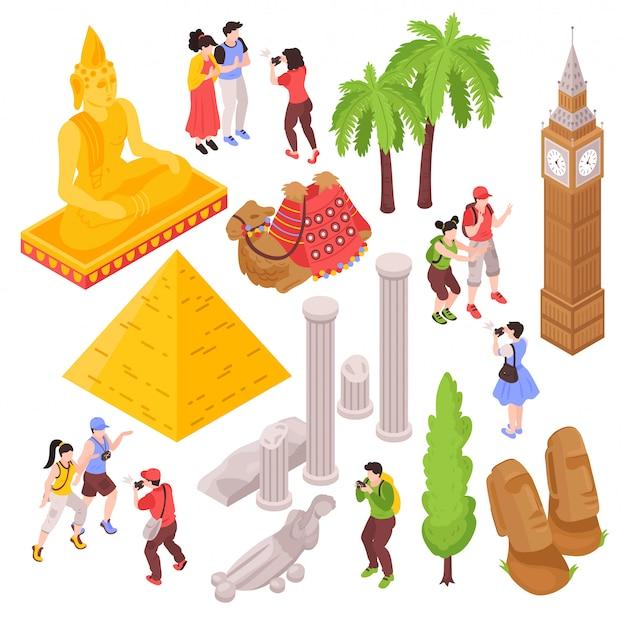 Isometrische reisattracties met geïsoleerde afbeeldingen van toeristen en beroemde bezienswaardigheden