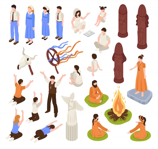 Isometrische religie pictogrammen collectie