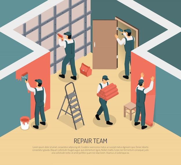 Isometrische renovatie illustratie