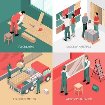 Isometrische renovatie ontwerpconcept