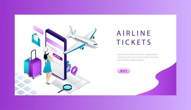 Isometrische reservering en boeking vliegtuigticket online concept.