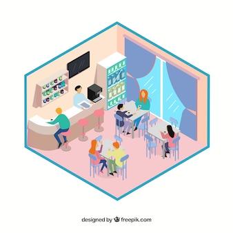 Isometrische restaurant's eetkamer met klanten