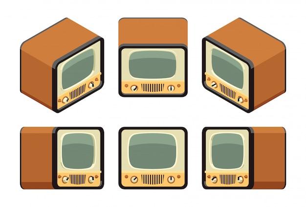 Isometrische retro tv-toestellen
