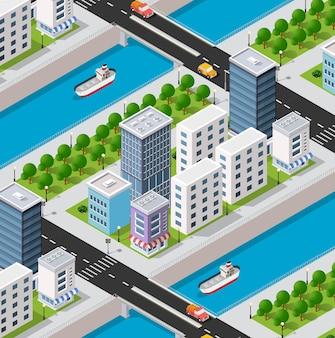 Isometrische rivierdijk 3d van het stadskwartier met huizen, straten, mensen, auto's.