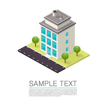 Isometrische road house kunst teken. vector illustratie