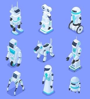 Isometrische robots. isometrische robot huis assistent beveiligingsrobot huisdier. futuristische 3d-robots met kunstmatige intelligentie. reeks