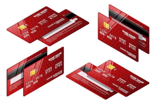 Isometrische rode creditcardverzameling