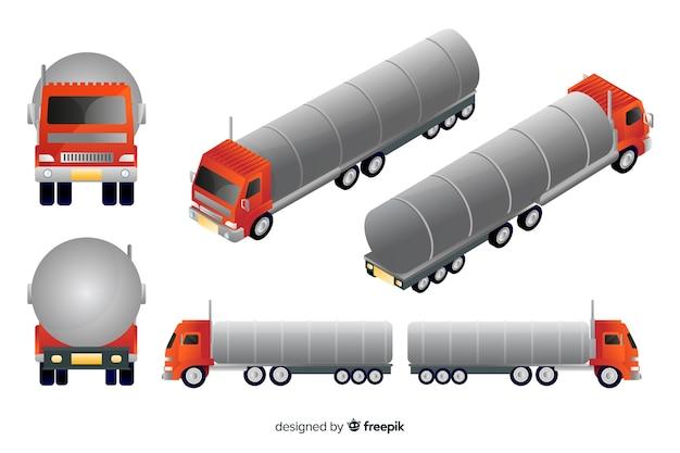 Isometrische rode vrachtwagen in verschillende weergaven