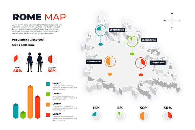 Isometrische rome kaart infographics