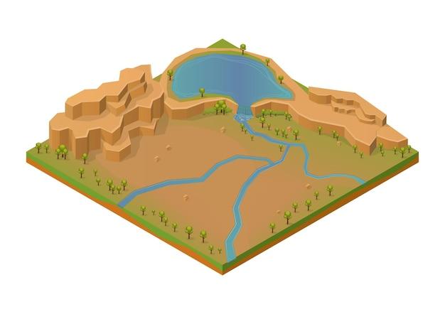 Isometrische rotsberg met meer en rivier.