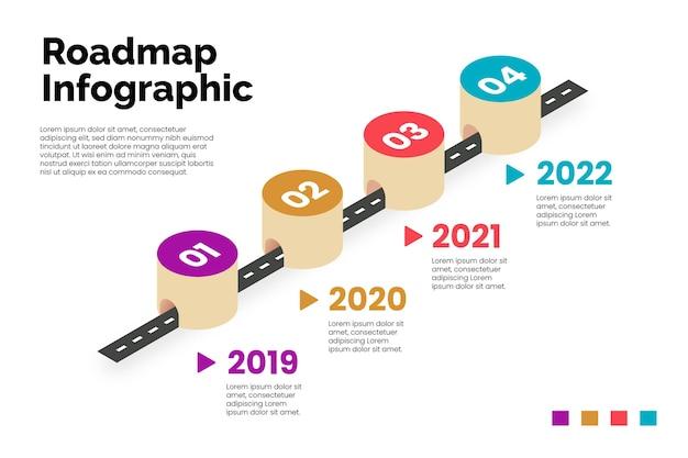 Isometrische routekaart infographic sjabloon