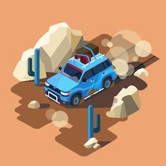Isometrische safari auto rijden door stoffige woestijn cactus landschap.