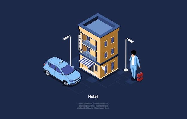 Isometrische samenstelling in 3d-cartoonstijl op blauw donker. illustratie van hotelgebouw, taxiauto en mannelijk karakter met koffer