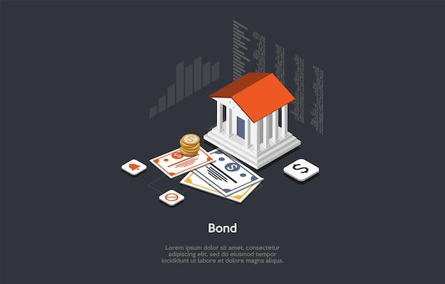 Isometrische samenstelling in cartoon 3d-stijl. bankleningen, aandelen, geldkredieten