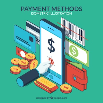 Isometrische samenstelling met betaalmethoden