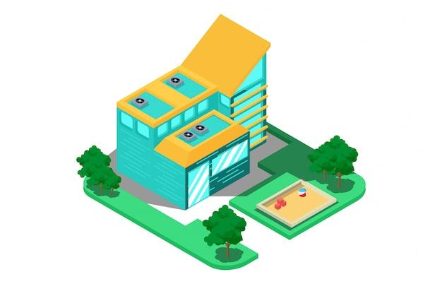 Isometrische samenstelling met een modern huis met twee verdiepingen