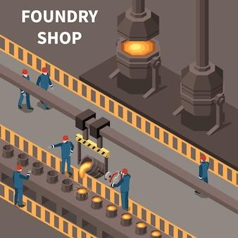 Isometrische samenstelling met gieterijarbeiders en het materiaal 3d vectorillustratie van de metaalindustrie
