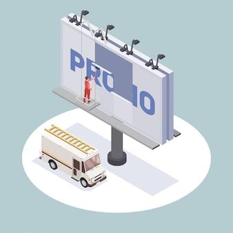 Isometrische samenstelling met het veranderende 3d aanplakbord van de reclamebureauarbeider