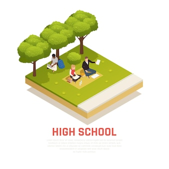 Isometrische samenstelling met illustratie van middelbare scholieren