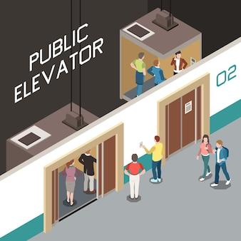 Isometrische samenstelling met liftschacht en mensen die openbare lift 3d illustratie gebruiken