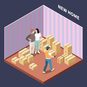 Isometrische samenstelling met paar die zich naar nieuw huis met 3d vectorillustratie van kartondozen bewegen