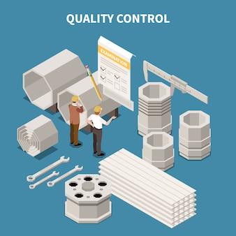 Isometrische samenstelling met producten van de metaalindustrie en arbeiders die kwaliteitscontrole 3d vectorillustratie doen
