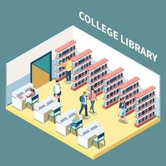 Isometrische samenstelling met studenten die in 3d vectorillustratie van de universiteitsbibliotheek bestuderen