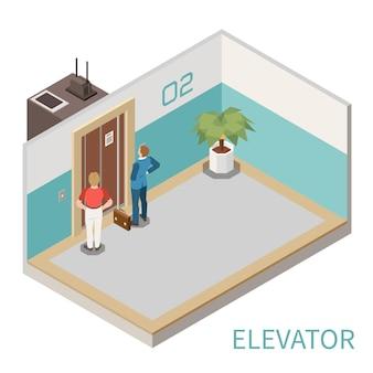 Isometrische samenstelling met twee mannen die op liftillustratie wachten