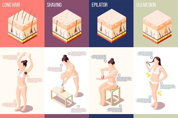 Isometrische samenstelling met vrouw die verschillende geïsoleerde procedures van de haarverwijdering doet