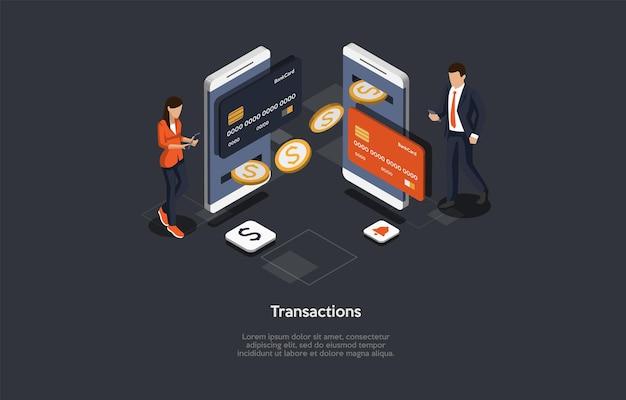 Isometrische samenstelling op transacties concept.