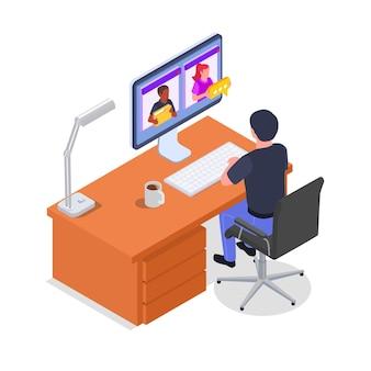 Isometrische samenstelling van beheer op afstand met mannelijk personage dat op afstand op de computer werkt