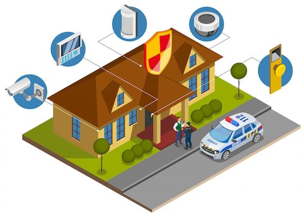 Isometrische samenstelling van beveiligingssysteeminstallatie met symbolen van bouwbeveiligingsapparatuur en aankomst van bewakingsdienstofficier