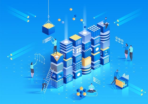 Isometrische samenstelling van cryptocurrency en blockchain met mensen