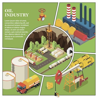 Isometrische samenstelling van de aardolie-industrie met raffinaderij, vrachtwagen, boortoren, boorinstallaties, brandstofpomp, klepreservoirs en vaten olie