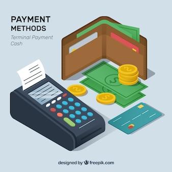 Isometrische samenstelling van de betaalmethoden
