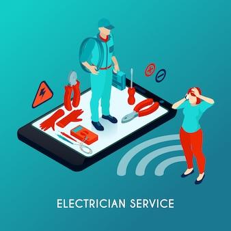Isometrische samenstelling van de elektricien de online dienst met hersteller in uniform met hulpmiddelenmateriaal op het smartphonescherm