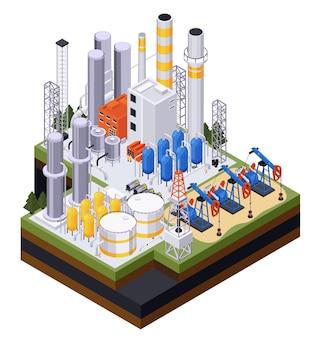 Isometrische samenstelling van de olie-aardolie-industrie met oliepompen en leidingen met opslagtanks