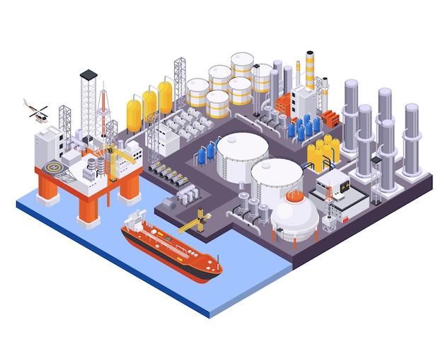 Isometrische samenstelling van de olie-aardolie-industrie met uitzicht op zeehaven met olieverwerking