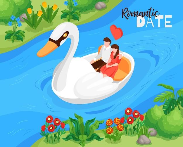 Isometrische samenstelling van de valentijnskaartendag de openluchtviering met minnaars die van de romantische datum van de bootriviercruise genieten