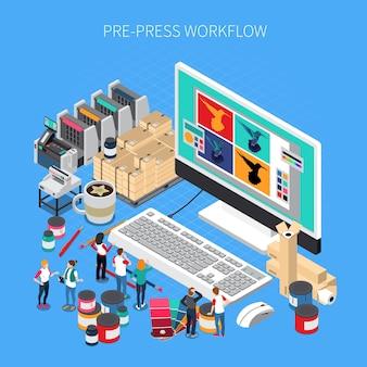 Isometrische samenstelling van drukkerijen met software voor digitale prepress-workflowtechnologie op een computermonitor