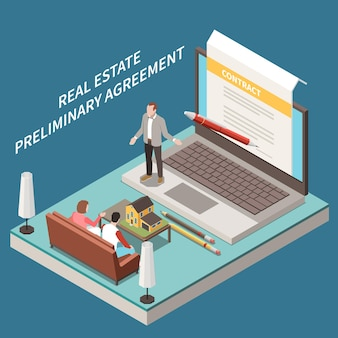 Isometrische samenstelling van een makelaarskantoor met laptop-podiumkarakters van klanten van agenten en contract op het scherm