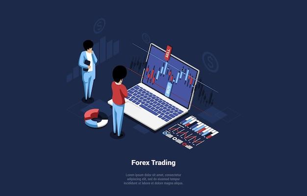 Isometrische samenstelling van forex trading concept op dark