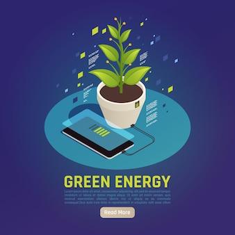 Isometrische samenstelling van groene energie met opladen van de batterij van een smartphone met behulp van fotosynthese van plantenbladeren als energiebron