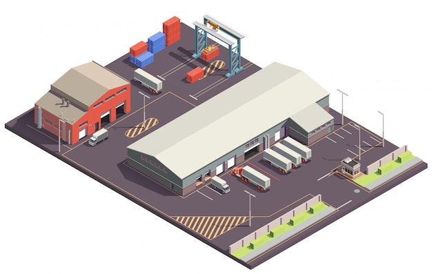 Isometrische samenstelling van industriële gebouwen met parkeergarage, vrachtwagens, containers en containers met kraanmanipulatoren