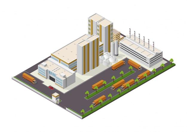 Isometrische samenstelling van industriële gebouwen met uitzicht op de faciliteiten