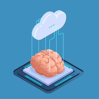 Isometrische samenstelling van kunstmatige intelligentie met wolkenpictogram met draden en menselijk brein op siliciumchip